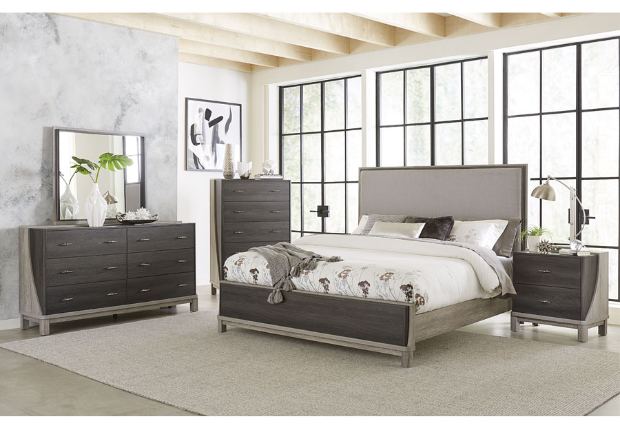Lifestyle Bel Air King Upholstered Bed, Dresser, and Mirror