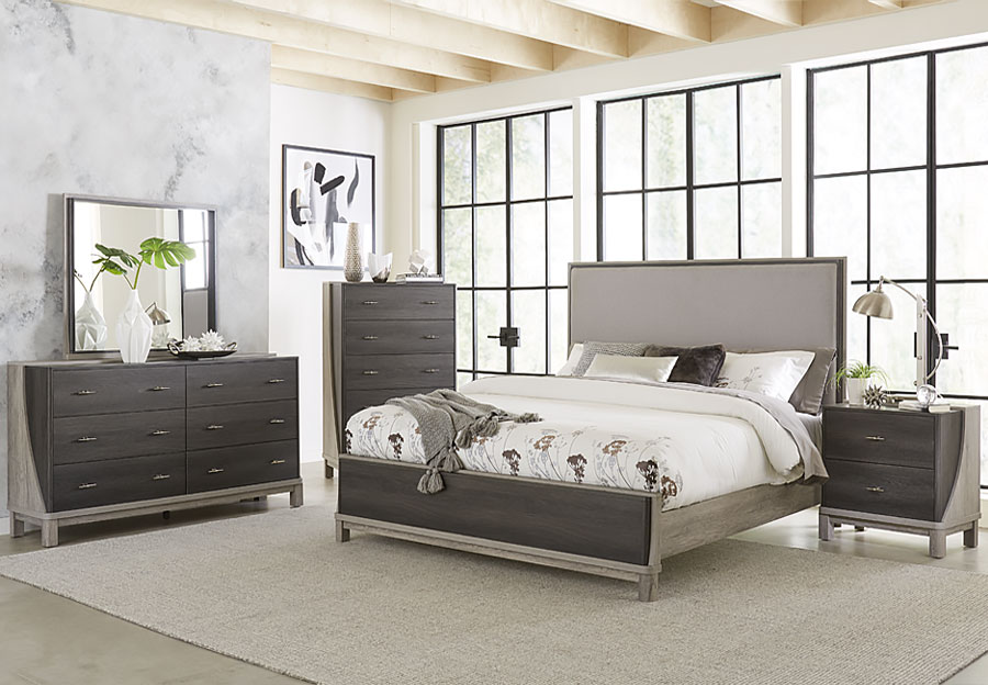 Lifestyles Bel Air Queen Headboard, Footboard, Rails, Dresser and Mirror