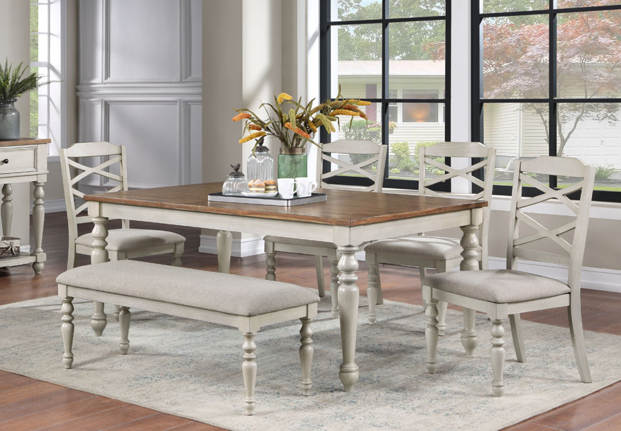 New Classic Jennifer Dining Table with Two Side Chairs and Bench