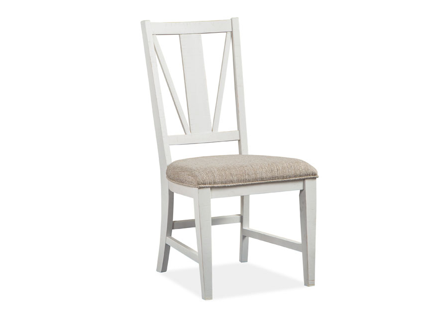 Magnussen Heron Cove White Dining Side Chair With Upholstered Seat