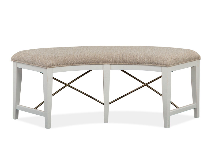 Magnussen Heron Cove White Curved Bench