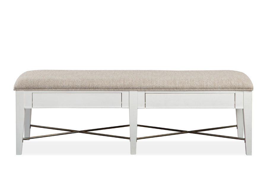Magnussen Heron Cove White Bench With Upholstered Seat
