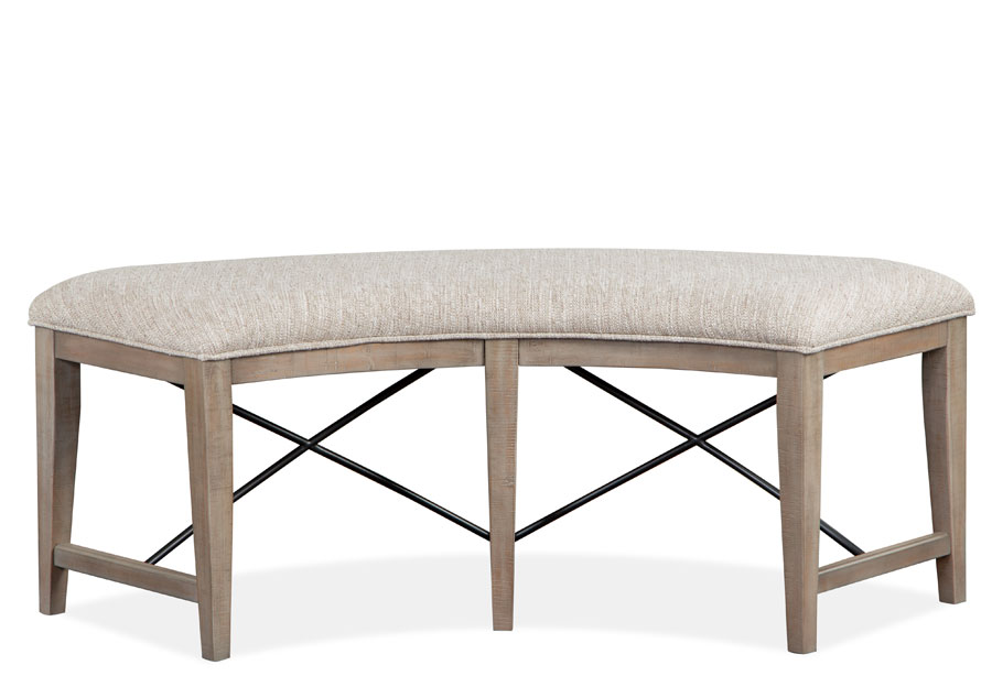 Magnussen Paxton Place Pewter Curved Bench with Upholstered Seat