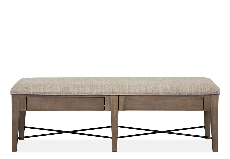 Magnussen Paxton Place Pewter Dining Bench with Upholstered Seat