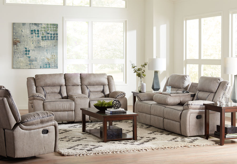 Lane Engage Taupe Reclining Sofa with Dropdown Table and Glider Reclining Loveseat With Console