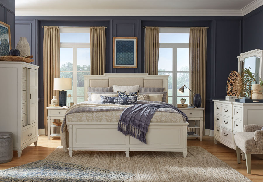 Magnussen Willowbrook White Queen Upholstered Bed, Dresser, and Mirror