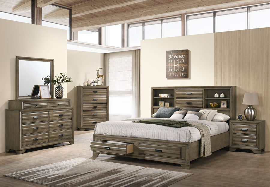 Lifestyle Belcourt Stone Grey Queen Bookcase and Storage Bed with Dresser and Mirror