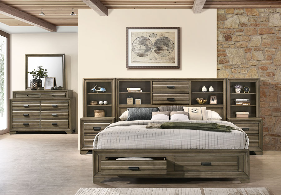 Lifestyles Belcourt Stone Grey King Bookcase Headboard, Storage Footboard, Rails, Dresser, Mirror, Two Piers, and Two Nightstands