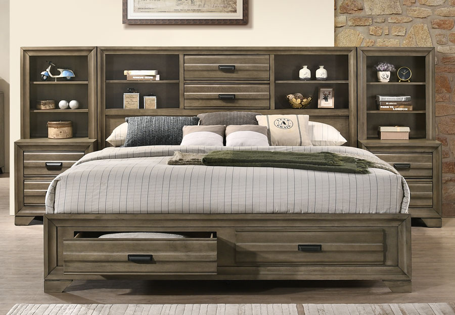 Lifestyles Belcourt Stone Grey King Bookcase Headboard, Storage Footboard, Rails, Two Piers, and Two Nightstands