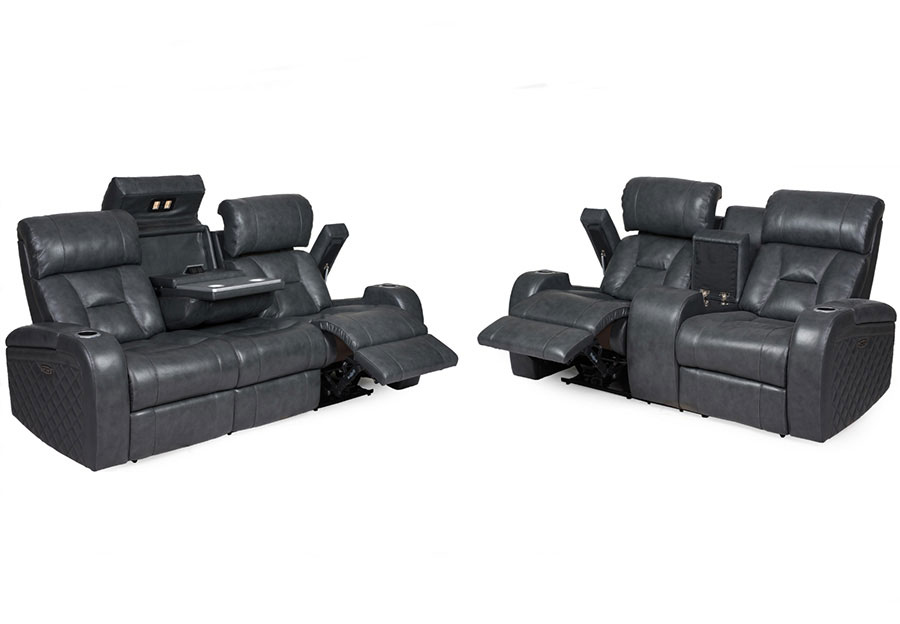 Synergy Luxe Transformer Grey Dual Power Reclining Sofa and Reclining Console Loveseat Leather Match