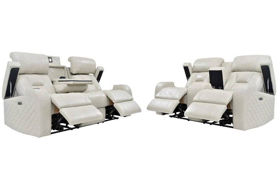 Synergy Luxe Transformer Cream Dual Power Reclining Sofa and Reclining Console Loveseat Leather Match