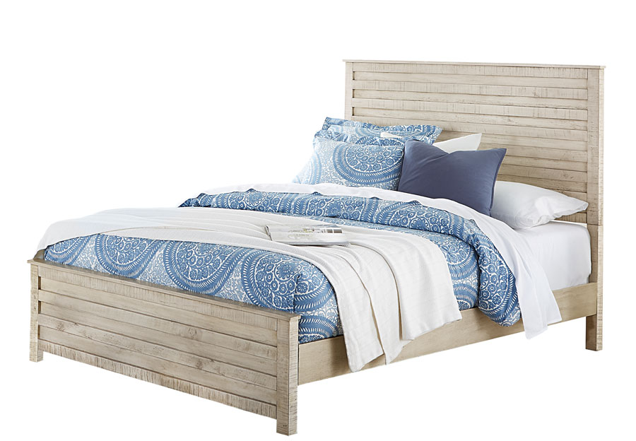 Hillsdale Villa Distressed White King Headboard, Footboard, and Rails
