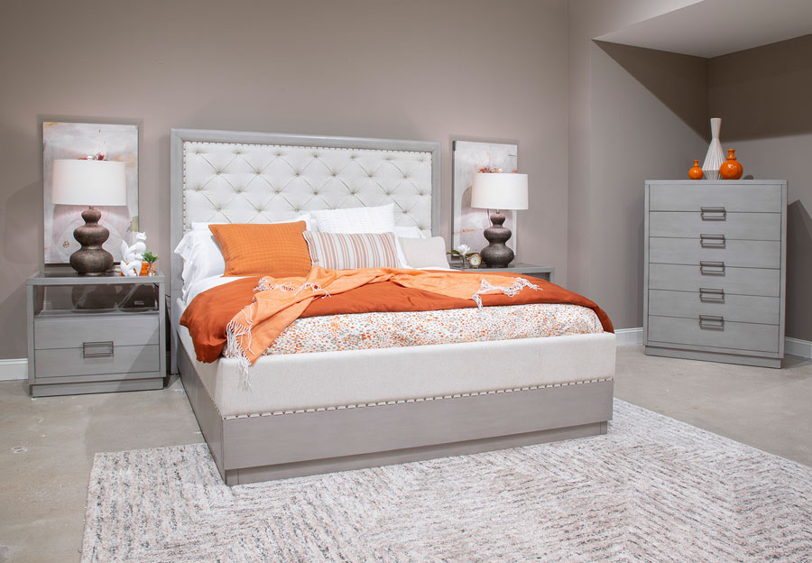 Magnussen Lilliana King Upholstered Bed, Dresser, and Mirror