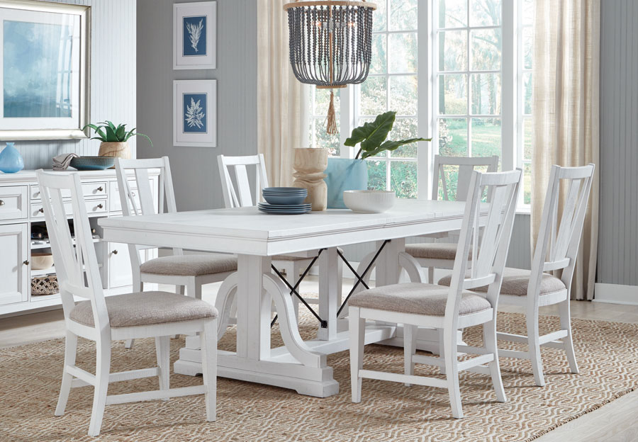 Magnussen Heron Cove White Dining Table and Four Chairs