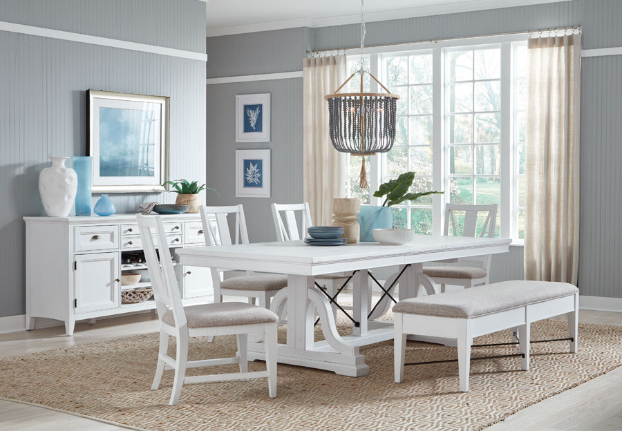 Magnussen Heron Cove White Dining Table Two Side Chairs And Bench