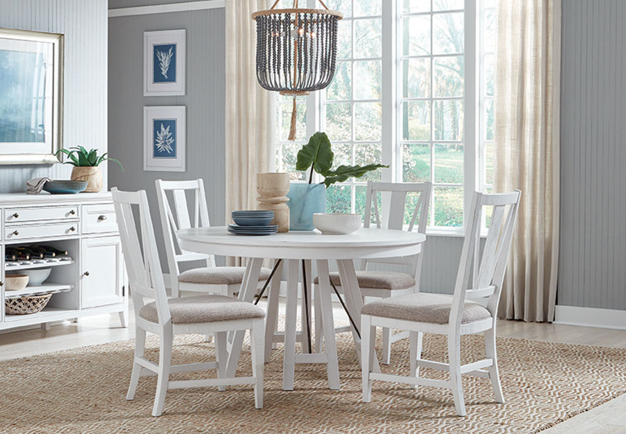 Magnussen Heron Cove White Round Dining Table and Four Side Chairs