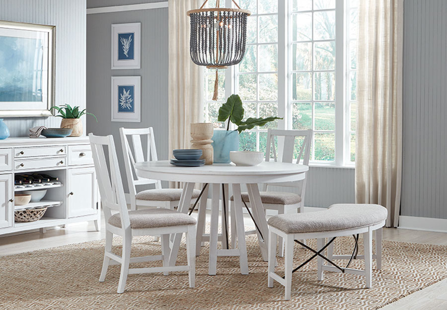 Magnussen Heron Cove White Round Dining Table Two Side Chairs and Curved Bench