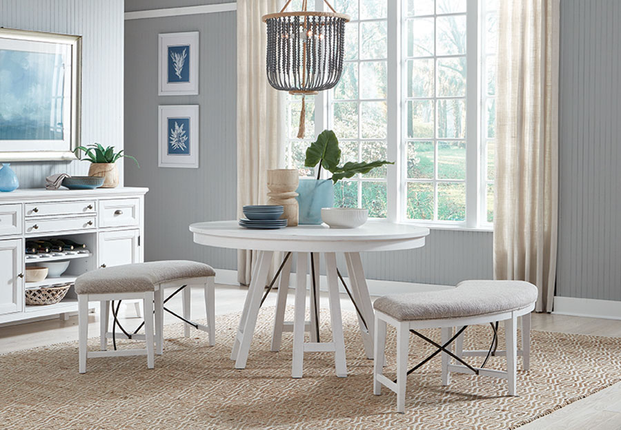Magnussen Heron Cove White Round Table and Two Benches