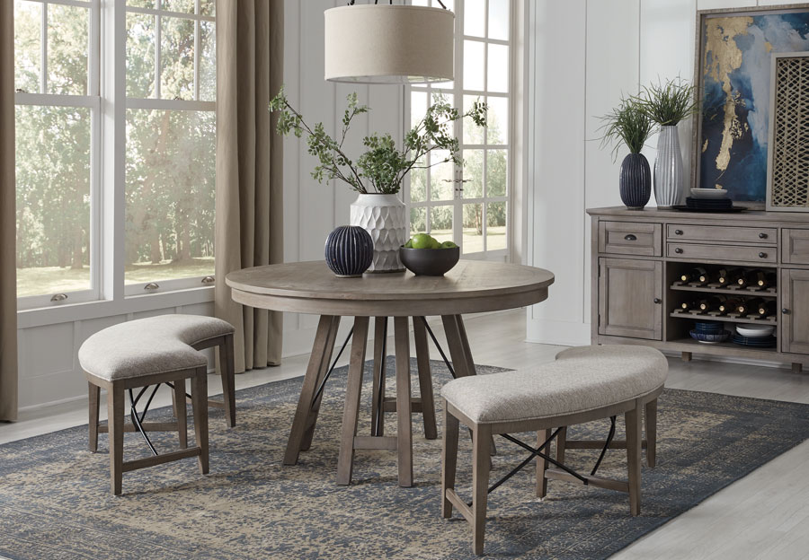 Magnussen Paxton Place Pewter Round Dining Table with Two Curved Benches