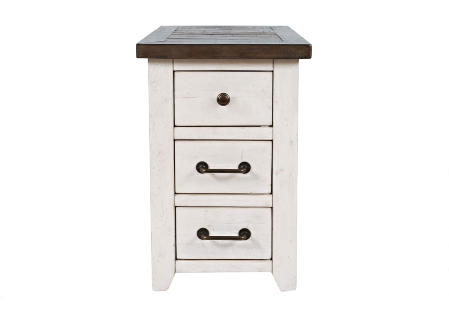 Jofran Madison County Harris Vintage White Chairside Power Accent Table