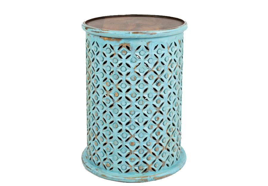 Jofran Global Archive Decker Turquoise Drum Accent Table