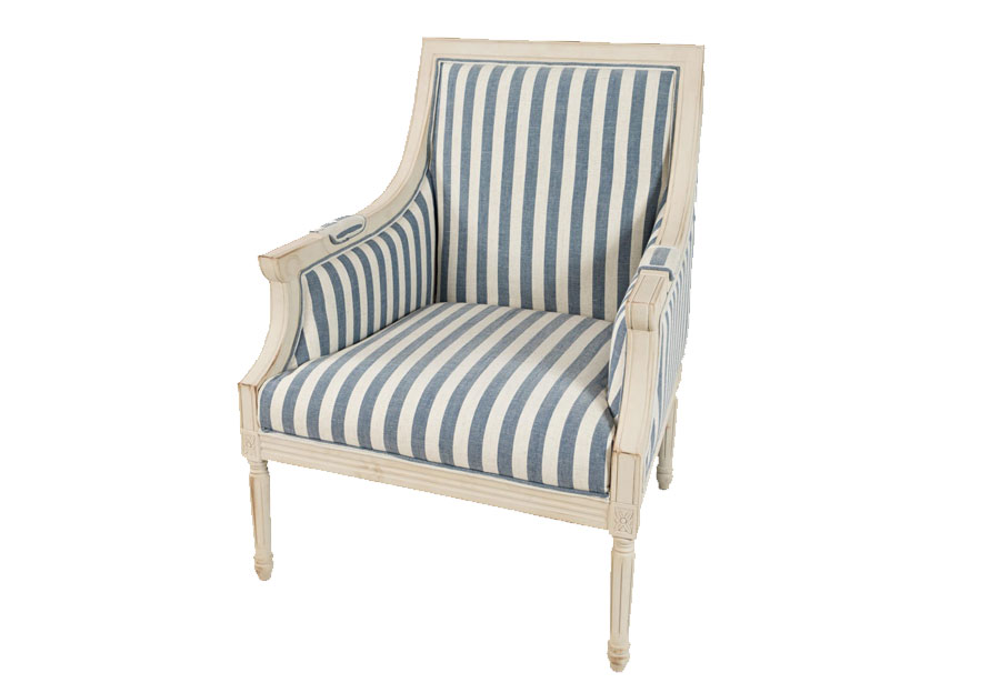 Jofran McKenna Blue Stripe Accent Chair