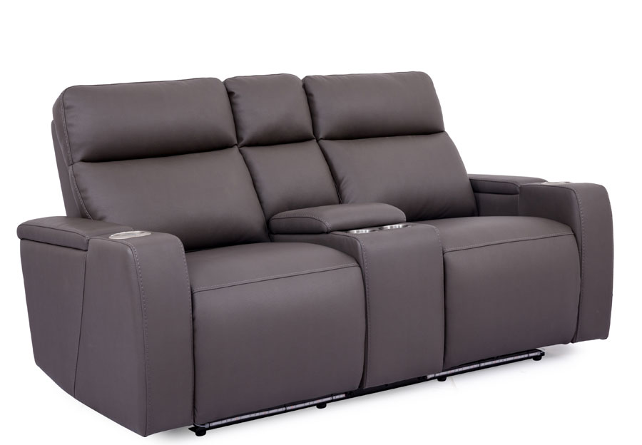 Cheers Lonzo Transformer Grey Dual Power Reclining Console Loveseat