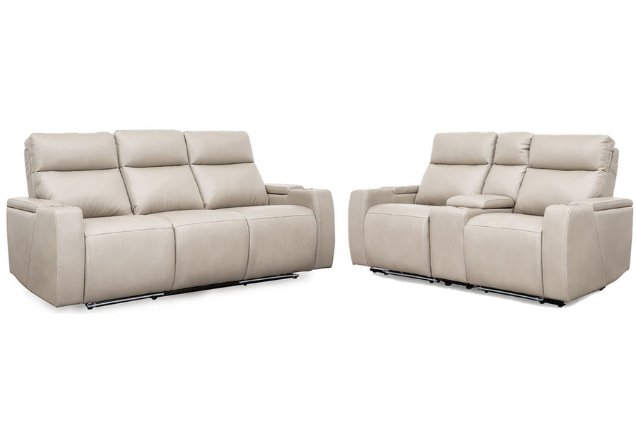 Cheers Lonzo Transformer Oyster Dual Power Reclining Sofa and Reclining Console Loveseat