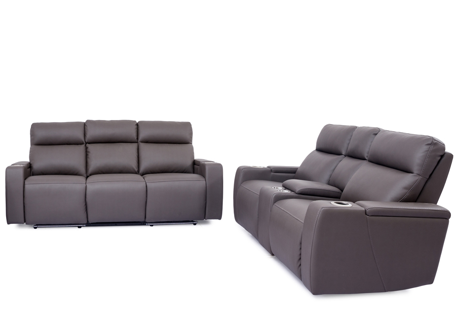 Cheers Lonzo Transformer Grey Dual Power Reclining Sofa and Reclining Console Loveseat