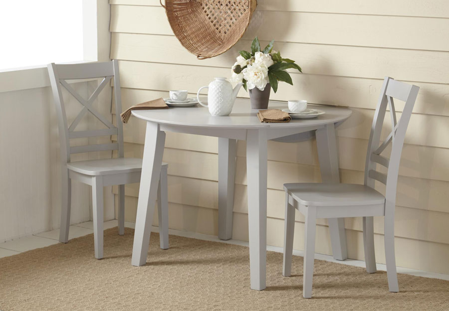 Jofran Simplicity Dove Round Dropleaf Dining Table and Two X Back Side Chairs