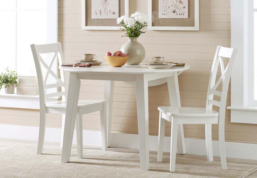 Jofran Simplicity Paperwhite Round Dining Table and Two X Back Side Chairs