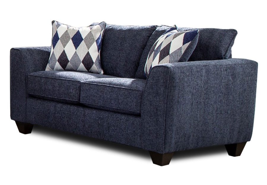 Albany Endurance Denim Loveseat with Harlequin Blue Accent Pillows