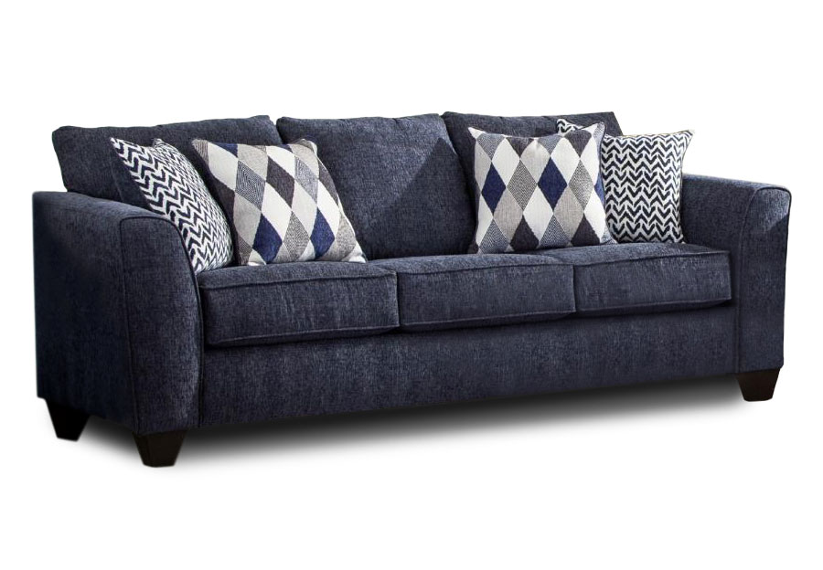 Albany Endurance Denim Queen Sleeper Sofa with Harlequin Blue and Arrowhead Denim Accent Pillows