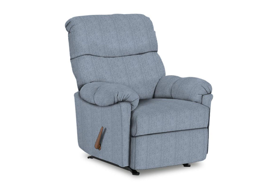 Best Balmore Powder Blue Swivel Glider Recliner