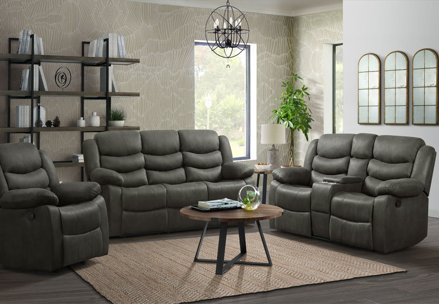 Lane Expedition Shadow Grey Dual Power Reclining Sofa and Loveseat with USB Ports