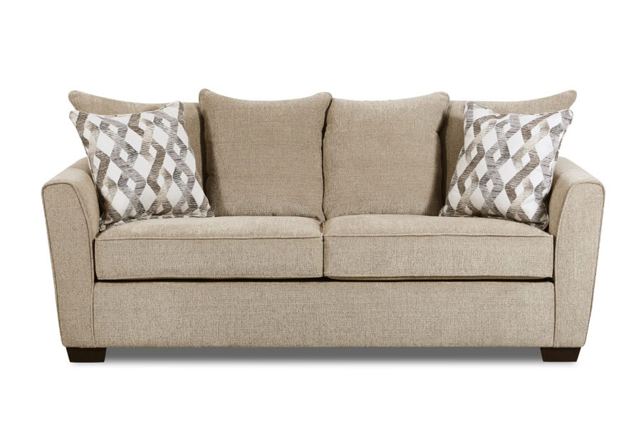 Lane Surge Mocha Sofa with Astrid Ash Pillows