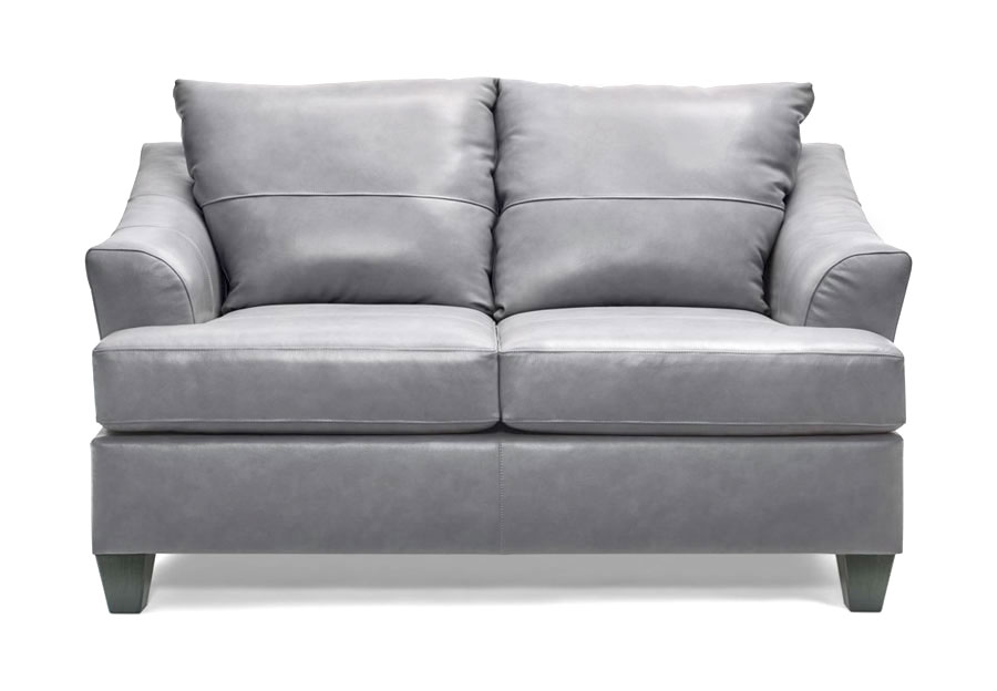 Lane Carlisle Silver Leather Match Loveseat