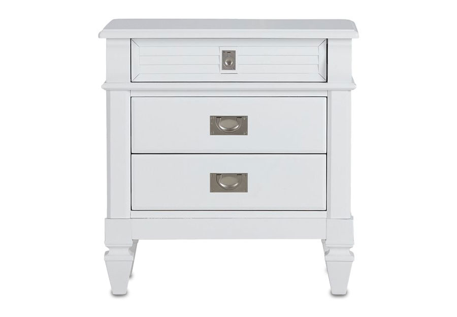 Lifestyle Compass White Three-Drawer Nightstand
