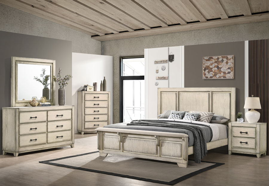 New Classic Ashland Rustic White King Headboard, Footboard, Rails, Dresser, and Mirror