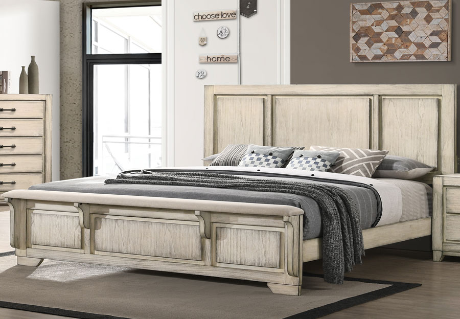New Classic Ashland Rustic White King Headboard, Footboard, and Rails