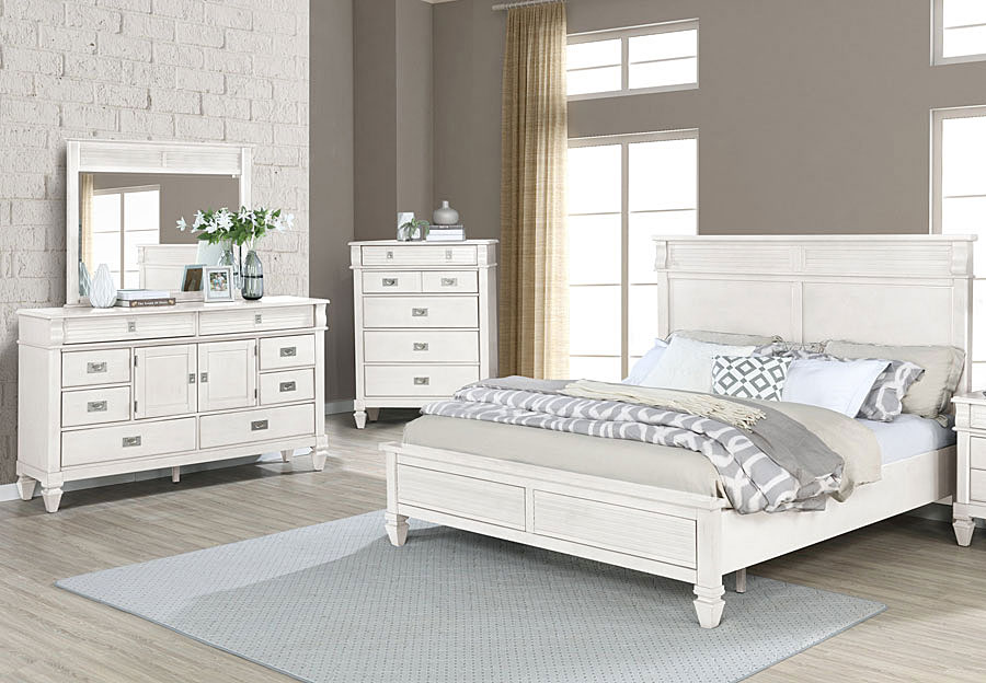 Lifestyle Compass White Queen Panel Bed, Dresser, and Mirror