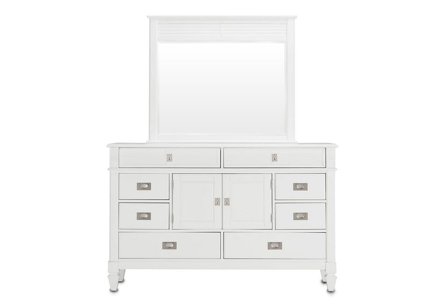 Lifestyle Compass White King Panel Bed, Dresser, and Mirror