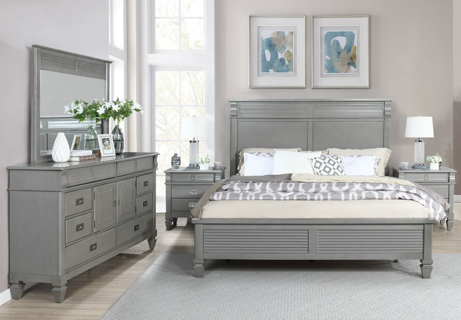 Lifestyle Compass Grey King Panel Bed, Dresser, and Mirror