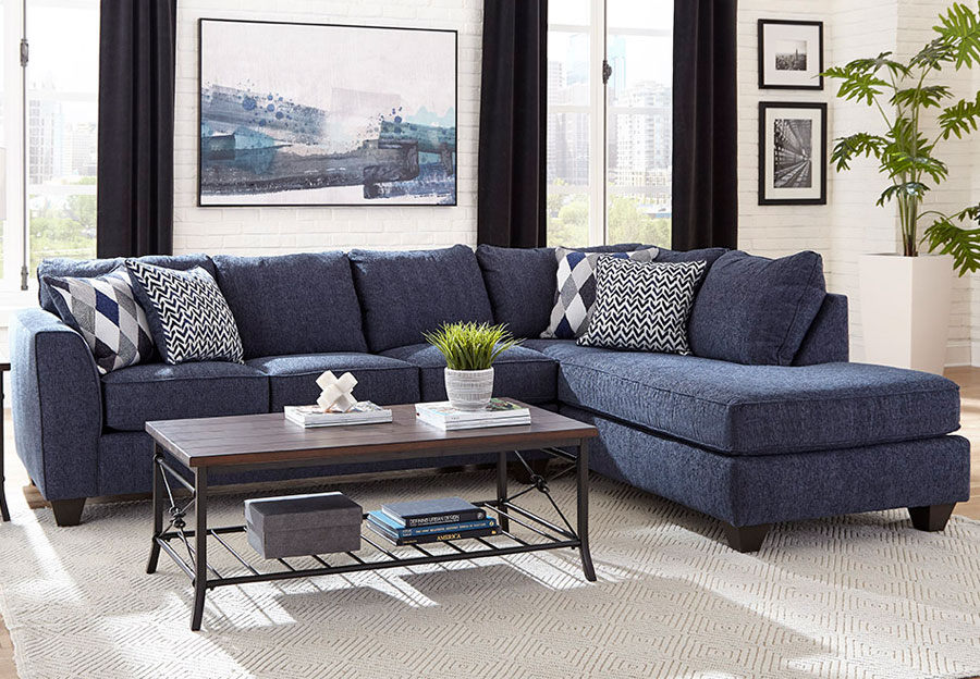 Albany Endurance Denim Chaise Sectional with Harlequin Blue and Arrowhead Denim Accent Pillows