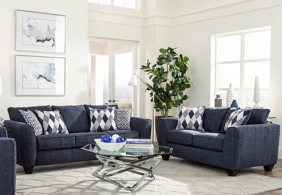 Albany Endurance Denim Sofa and Loveseat with Harlequin Blue and Arrowhead Denim Accent Pillows