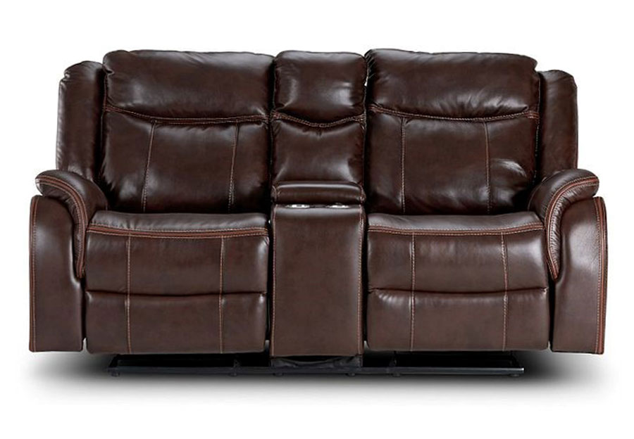 Lane Carrera Brown Glider Reclining Loveseat with Center Console