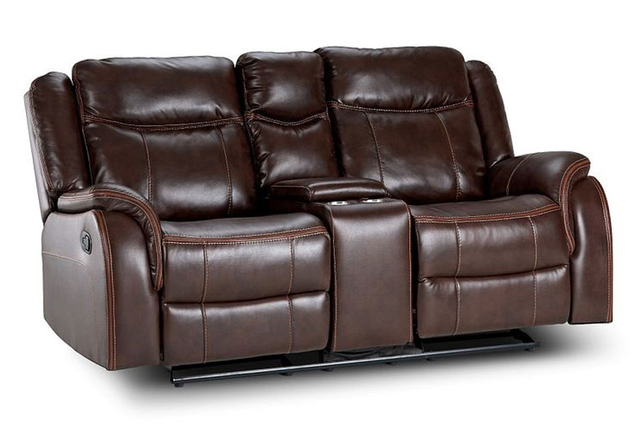 Lane Carrera Brown Power Glider Reclining Loveseat with Center Console