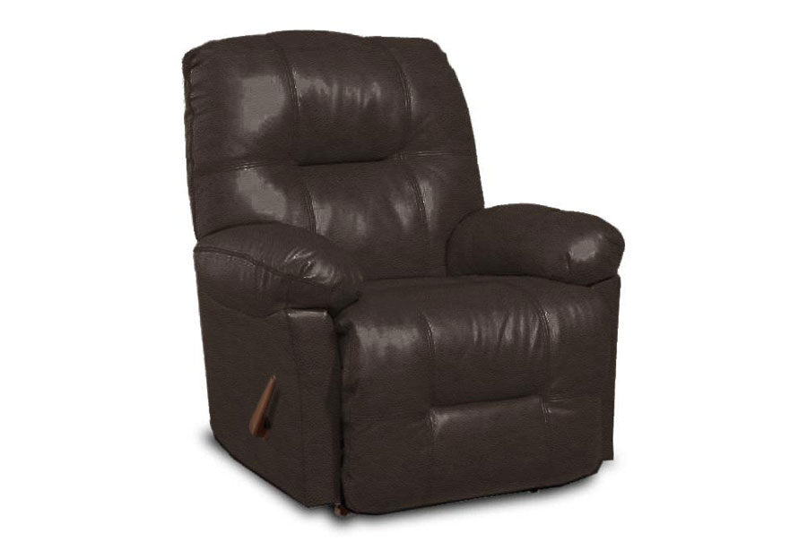 Best Zaynah Walnut Leather Match Recliner