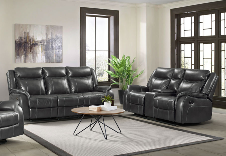Lane Carrera Grey Power Reclining Sofa and Reclining Loveseat
