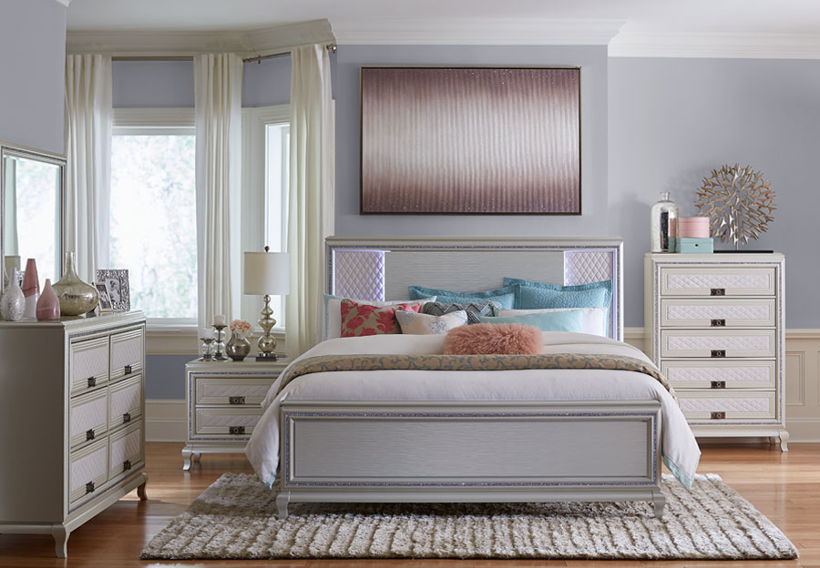 Lifestyle Shanel King Panel Bed, Dresser, and Mirror